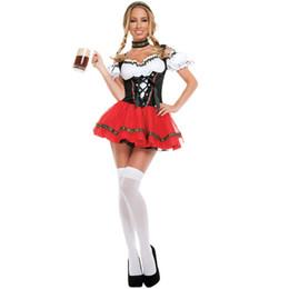 2019 costume da birra l Vestito operato dal Carnaval ottobre Festival Beer Bar Cameriere Costume tedesco Oktoberfest Dirndl della domestica del partito sconti costume da birra l