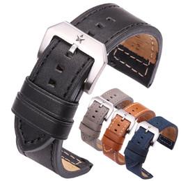2019 pulsera de pentagrama 24mm Correa de piel de vaca Negro Marrón Gris Azul Womne Hombres Correa de Reloj de Cuero Genuino Reloj Accesorios Accesorios Hebilla de Pentagrama rebajas pulsera de pentagrama