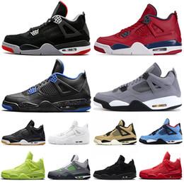 RUSH VIOLET 4s hommes chaussures de basket ball Loyal Bleu Bred Cool Gray Ailes champignons Chat noir Qu est ce que les 4 formateurs hommes de sport