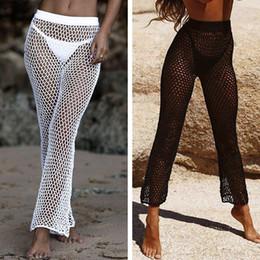 Брюки для бикини онлайн-Crochet Mesh Бич брюки для женщин 2020 лето новых Эластичных бикини прикрывают Брюки высокой талии Длинного клеш Брюки Плавание Bottoms