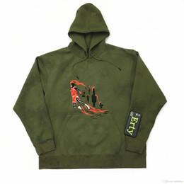 Cravatta fiori colorati online-19FW Travis Scott congiunta TS militare camoscio verde marcio fiore tinto legame con cappuccio felpa con cappuccio maglione S-XL