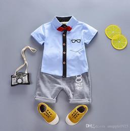 i ragazzi di 12 mesi marchi vestiti Sconti mesi Estate infantile neonato vestiti abiti di marca Plaid suit baby boys abbigliamento pigiama set di completi sportivi per i ragazzi