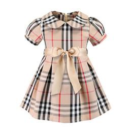 tierdruck satin stoff Rabatt Mädchen Plaid Kleider europäische und amerikanische Kinderbekleidung 19ss Sommer neue Kinder Kleid Mädchen Plaid Baumwolle Kleid Prinzessin Kleid