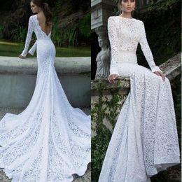robes de mariage de concepteur tiers Promotion Robe de mariée sexy en dentelle stretch Maxi Dress évider étage longueur robe de soirée d'été rembourré robes de sirène dos nu