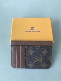 Geldbörse gelb online-Hohe Qualität Leder Männer kurze Geldbörsen für Frauen Männer Geldbörse Clutch Kartenhalter mit gelben Boxs