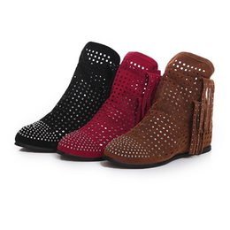 Sandalias de señora Para mujer bota sexy de cuero nobuck tacón alto Malla de tacón de 3 cm corte resbalón en bota de bota bota de tacón plano borla envío gratis desde fabricantes