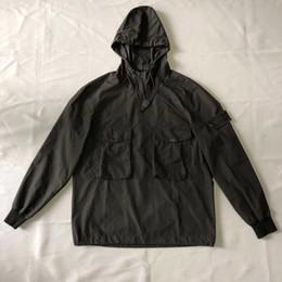 Abiti in pietra online-Giacca antivento SI giacca da uomo casual felpe con cappuccio giacca da jogging in pietra nera di alta qualità taglia M-XXL