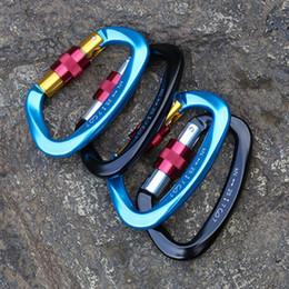 Equipo de roca online-Mosquetón profesional Forma D 25KN Escalada hebilla de herramientas eléctricas de seguridad Seguridad Master Lock rock al aire libre Escalada Equipo hebilla