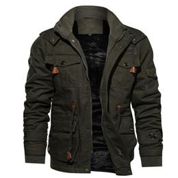 2019 parka de lã de inverno Mens Parka Winter Jacket velo Multi-bolso Casual acolchoado Jacket Dropshipping desconto parka de lã de inverno