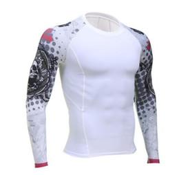 2020 camiseta de pele apertada Mens de Fitness mangas compridas Rashguard Camiseta Pele Homens Musculação apertadas térmicas compressão Shirts exercício de CrossFit Top desconto camiseta de pele apertada