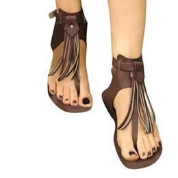 Argentina Sandalias de mujer Tobillo Doble Hebilla sandalias de punta abierta Falt Con borlas de estilo romano Zapatos De Mujer Chaussure Femme cheap roman style buckled sandals Suministro