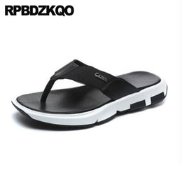 4e29b29800c6b6 Slippers Mens Sandals 2018 Summer Outdoor Fashion Flat Leather Flip Flop  Beach Open Toe Black Slides Men Shoes Slip On Casual