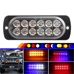 luz de advertencia del estroboscópico 24v Rebajas 2 unids Ultra Thin 12 LED Strobe Car Truck Tailer Lorry Bus Luces de posición laterales 12V 24V Auto intermitente luz de advertencia luces de señal de giro
