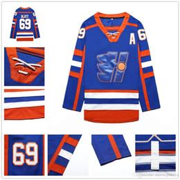 Goon Movie Highlanders Xavier LaFlamme Hockey Jersey 70 Stitched Sewn Men Blue