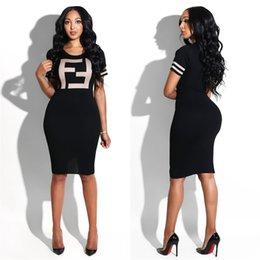 8bed041169a6 F Stampa T-shirt abito donna estate maniche corte o collo stampa aderente abiti  donna sportivo stretto gonna sexy LJJA2296