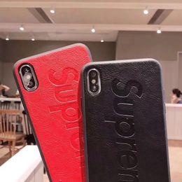 2019 iphone rojo negro funda silicona Funda de cuero genuino para Iphone X 8 XR XS iPhone xs Fundas de teléfono de lujo para iPhone Funda de cuero para iPhone Entrega gratuita