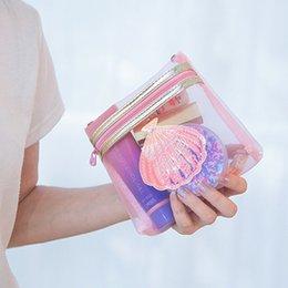 Maglia di maglia piccola online-New Pink Mesh Cosmetic Bag per le donne Piccolo ologramma Shell Makeup Organizer Zipper Cute Girls Coin Pocket Marsupio