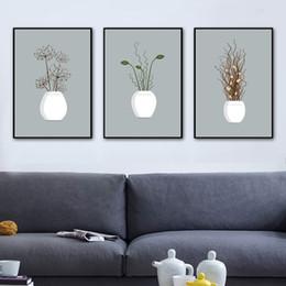 Pote de imagens de pintura on-line-Gohipang Planta Em vaso Flor Arte Da Parede Da Lona Pintura Nórdico Cartazes E Cópias Da Parede Pictures Para Sala de estar Cópia Da Arte Da Lona