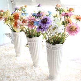 Margaridas azuis das flores artificiais on-line-Casamento decoração de casa flor artificial 4 Forks partido da margarida azul do moinho de vento