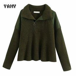donne verde di pullover dell'esercito Sconti Donna Inverno magliata Army patchwork verde zoravicky maglione dolcevita in maglia allentato superiore del ponticello del pullover 2020