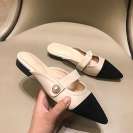 mischen sie spielschuhe Rabatt 2019 Sommer Hausschuhe Frauen Frauen Schuhe Slip-on Perle Faule Pantoffel H Marke Echtes Leder Farbe Passende Mischfarben