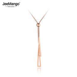 JeeMango Trendy Çift Üçgen Paslanmaz Çelik Kadın Kutusu Zincir Kolye Takı Gül Altın Ayarlanabilir Gerdanlık Kolye JN19049 cheap double triangle necklace nereden çift üçgen kolye tedarikçiler