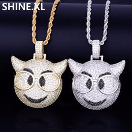 Teufelsgläser online-Hip Hop Iced Out Emoji Gesicht Little Devil mit Brille Gold Silber überzogen Micro gepflastert Kubikzircon Charm Halskette für Männer Frauen