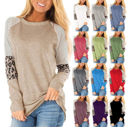 2020 paquetes de ropa S-5XL tamaño plis 2020 informal camiseta de las mujeres de manga larga de empalme Leopard Impreso paquete camisa de la cadera del tamaño extra grande de las mujeres Ropa algodón de las tapas paquetes de ropa baratos