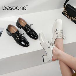 tacchi bianchi di base Sconti BESCONE Basic pumps donna comode 5cm tacco quadrato lace-up carriere pompe per donna punta quadrata nero bianco scarpe donna BO239