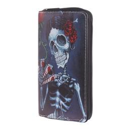 bolsa de moda crânio Desconto THINKTHENDO Moda Couro Com Zíper Mulheres Crânio Carteira Titular do Cartão de Embreagem Bolsa Longo Carteira Telefone Caso Titular do Telefone 5 cor