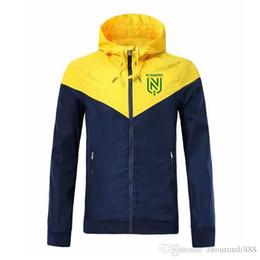 Autunno FC Nantes Windbreaker caldo di vendita di sport incappucciato cappotto Nantes magliette di calcio di marca degli uomini in esecuzione giacca a vento maschile Sportwears da