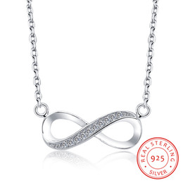 Real 925 Plata de ley Eternidad Infinito Símbolo de Amor Micro Pavimentado Cubic Zirconia Collar Colgante Infinito Para Siempre Infinito Collar de Mujer desde fabricantes