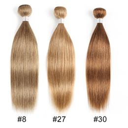 34-дюймовый блондинка индийские волосы Скидка # 8 # 27 # 30 Светло-коричневые пучки плетения человеческих волос Индийская девственница Прямые волосы 3 или 4 пучка 16-24-дюймовые человеческие волосы Remy