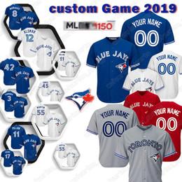 Baseball jerseys toronto online-Individuelle 27 Vladimir Guerrero Jr. Toronto Baseball Blue Jays 6 Marcus Stroman 2 Troy 19 Bautista 12 Alomar Trikot 2019