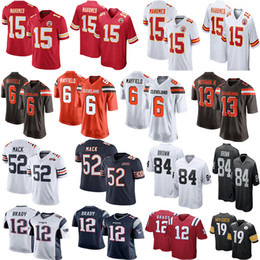 Tom jersey online-Maglie da uomo NCAA Patrick Mahomes Browns Baker Mayfield Tom Brady Odell Beckham Jr Bears Khalil Mack 2019 100th Maglie da calcio Antonio Brown