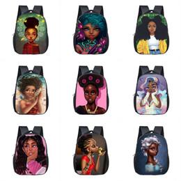 menina da escola do projeto dos desenhos animados Desconto Crianças de 12 polegadas Mochilas 26 Custom Design Afro meninas dos desenhos animados Bolsa Escola crianças de alta qualidade de viagem Zipper Multifuncional saco de armazenamento 2-7T 06