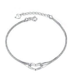корейские ювелирные изделия из платины Скидка Корейский ювелирные изделия сердце в форме сердца браслет двойной линии любовь Алмаз покрытием платины