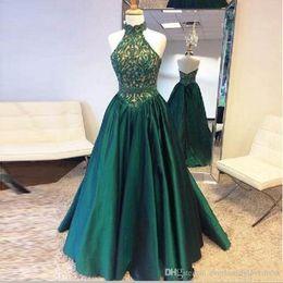 Newest A Line Satin Beaded Dark Green Prom Dresses Elegant Halter Floor Length Evening Dress Vestidos De Noche Largos Elegantes De Fiesta