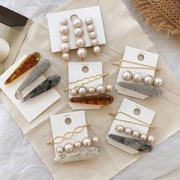 Corea establece niña online-3pcs / Set Clip Corea Japón metal oro perla irregular de pelo Acetato de partido de las mujeres de las horquillas de boda del Barrettes del cabello joyas accesorios