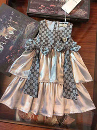 Roupas baratas de marcas on-line-Kid deidgner roupas para menina flor menina vestido G carta de design da marca moda barata vestidos outono menina vestido de festa 100-140 cm