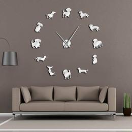 horloges pour animaux de compagnie Promotion Différentes races de chiens 3D DIY Géant Horloge murale Pet Shop Art mural Art chiot Types de chien Horloge décorative Montre Eco Friendly cadeau amoureux des animaux