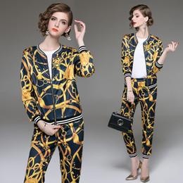 Argentina Conjunto de traje de diseñador de pasarela de nueva calidad para mujer, chaqueta de manga larga, blusa estampada y pantalón vintage de dos piezas cheap blouses jackets Suministro
