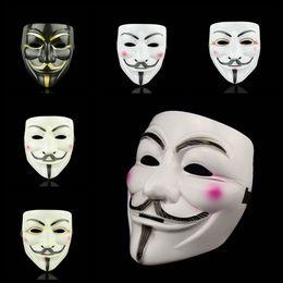 Disfraces de halloween decoraciones online-Vendetta V Word Mask 5 Style Creative Movie Theme Cosplay Disfraz Halloween Masquerade Masks Party Decoration TTA1564