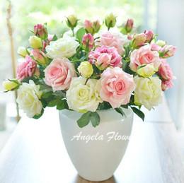 2020 bunte rosenblüten Wholesale-5pcs / lot lebhafte reale Noten-Rosen-bunte Qualitäts-künstliche silk Blume für Hochzeitsfestdekoration 2 Köpfe / Blumenstrauß rabatt bunte rosenblüten