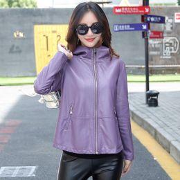 jaqueta de couro feminina roxa Desconto Leather Jacket das mulheres M-3XL 2018 Casaco de Inverno Feminino solto Plus Size com capuz Couro Sólidos Outwear Preto Roxo Vermelho Y190920