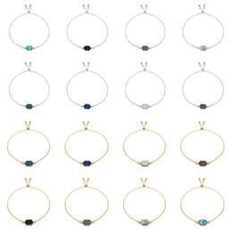 Bracelets en platine en Ligne-Kendra Scott Diamant Cluster Bracelet Platine Argent Alliage Bracelet Druzy Drusy Pierre Naturelle Couleur Géométrie À La Main Bijoux En Gros