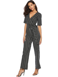 striped jumpsuits Promo Codes - Women Summer Black White Striped Jumpsuits Plus Size Teacher Office Ladies Casual Short-sleeved Fit Slim Professional Suit 2XL