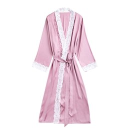 2019 Summer Satin Robes For Brides Wedding Lace Robe Sleepwear Silk Pijama  Long Nightgown Women Bridesmaid Kimono Bathrobe cheap satin kimono robes for  ... 633cbd240