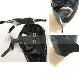 máscara do capuz zíper Desconto Máscara de látex feito à mão unisex com capuzes de borracha de tampa de boca de olhos com mordaça de plugue de boca zip de volta RLM178 sensual