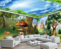 Pintura del bosque casa online-Antecedentes 3d fondo de pantalla de la sala última hada de la fantasía Animal Forest Castle House completa Pintura Mural